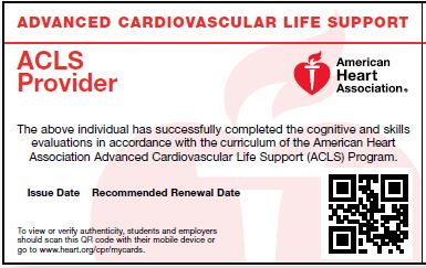 HeartCode ACLS<br>Skills Test ONLY Card