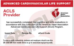 ACLS Provider<br>Update Course Card