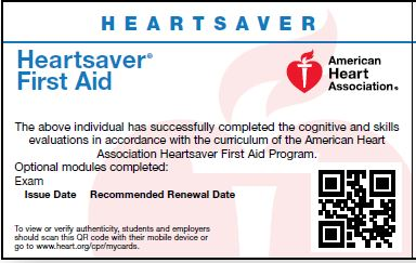 First Aid<br>Key and Skills Test Card