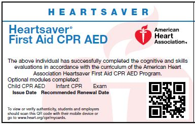 First Aid CPR AED<br>Skills Test ONLY Card