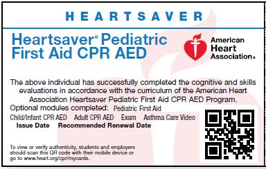 Pediatric First Aid CPR AED<br>Key and Skills Test Card